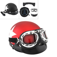 Unisex Retro Motorcycle Helmets Scooter Open Face Half Pentagram Helmet with Goggles Capacete for Motorcycle Electric Cars unisex bicycle protect helmets motorbike helmet goggles protection helmet retro vintage half open face helm