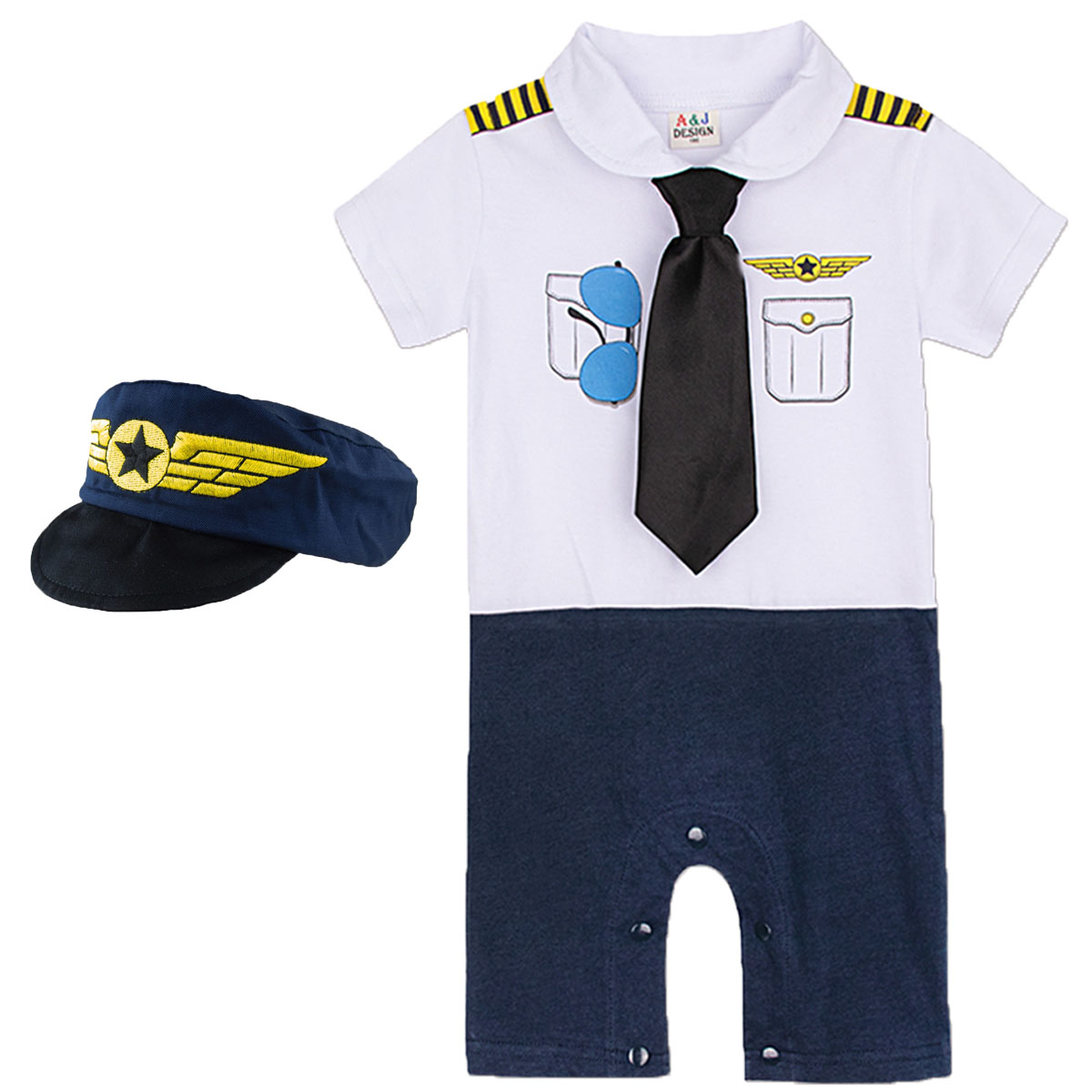 Baby Boy Pilot   Romper   Newborn Cosplay Aviator with Tie Hat Toddler Cotton Print Jumpsuit Infant Birthday Party Gift Playsuit
