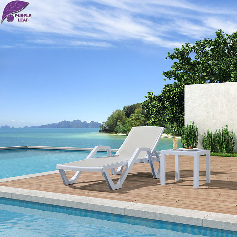 Purple leaf plastic sun lounger beach folding chair for Beach chaise longue