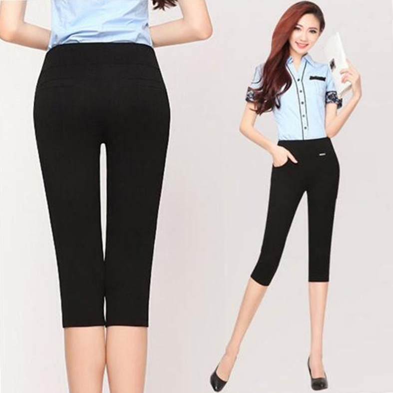 2018 Summer Style Women Pants Capris Woman Solid Slimming Pantalon Femme Cotton High Waist Women Skinny Capris Plus Size S-6XL