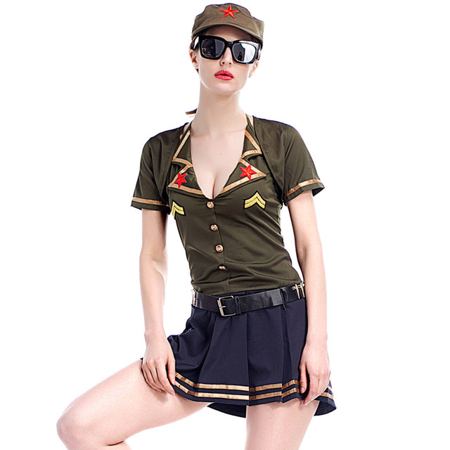 Online Shop Ladies Sexy Army Green Pilot Cosplay Costumes Plus Size