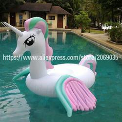 250 см гигантский Rainbow Unicorn надувной бассейн поплавок для взрослых детей Pegasus ездить на лето водные игрушки пляж вечерние украшения