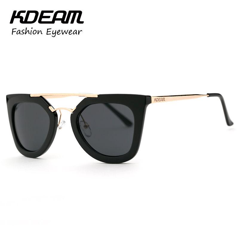 kdeam 100 uvauvb cat eye sunglasses women double bridge fashion glasses frame