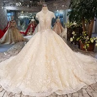 High Neck Backless Lace Wedding Dresses 2019 Vestido De Noiva Glitter Fabric Custom Made Real Photos Bridal Gowns For Women
