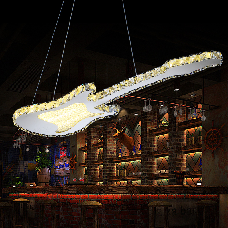 Creative guitare suspension lampe mode Simple LED cristal pendentif lumière Bar cristal Restaurant café Art lampe ZP4131827