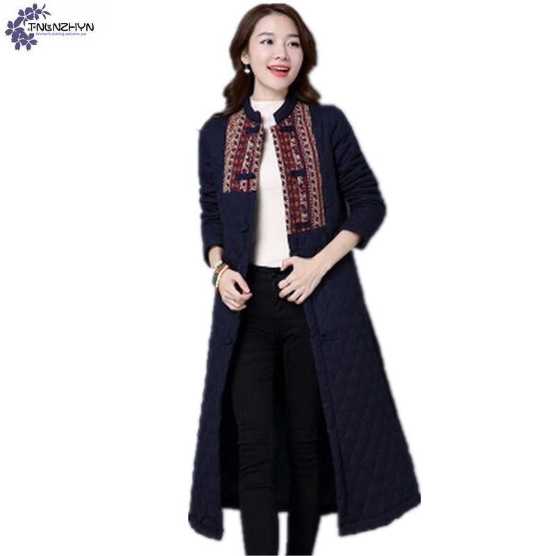 TNLNZHYN 2017 Women clothing cotton coat winter fashion large size leisure thickening warm Long female cotton Outerwear TT608