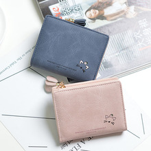 2019 New Pattern Short Wallet Japanese and Korean Cute Cat Hardware Flower Wallet with tassels Student Multifunctional Wallet fashionable women s wallet with colour block and tassels design