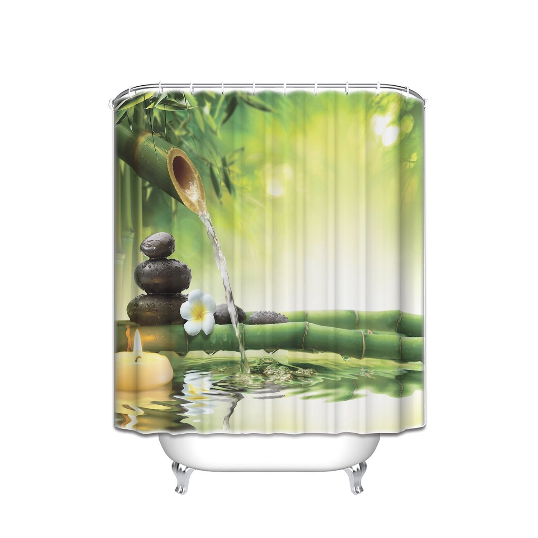 Zen Garden Theme Mildew Resistant Fabric Shower Curtain