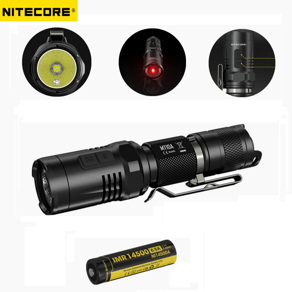 NITECORE MT10A EDC 920 lumens CREE XM-L2 U2 LED Flashlight Torch with Red +White Light by Nitecore 14500 battery nitecore mh20 with 3200mah battery 1000 lumens cree xm l2 u2 led rechargeable mini flashlight waterproof led torch free shipping