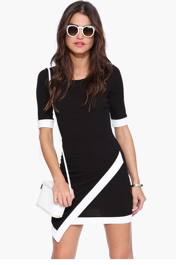 fd98348e00 3 colores negro blanco elegante mujeres Vestidos moda de verano Claret corto  de la manga asimétrica vestido ajustado envío gratis LC21990 en Vestidos de  La ...