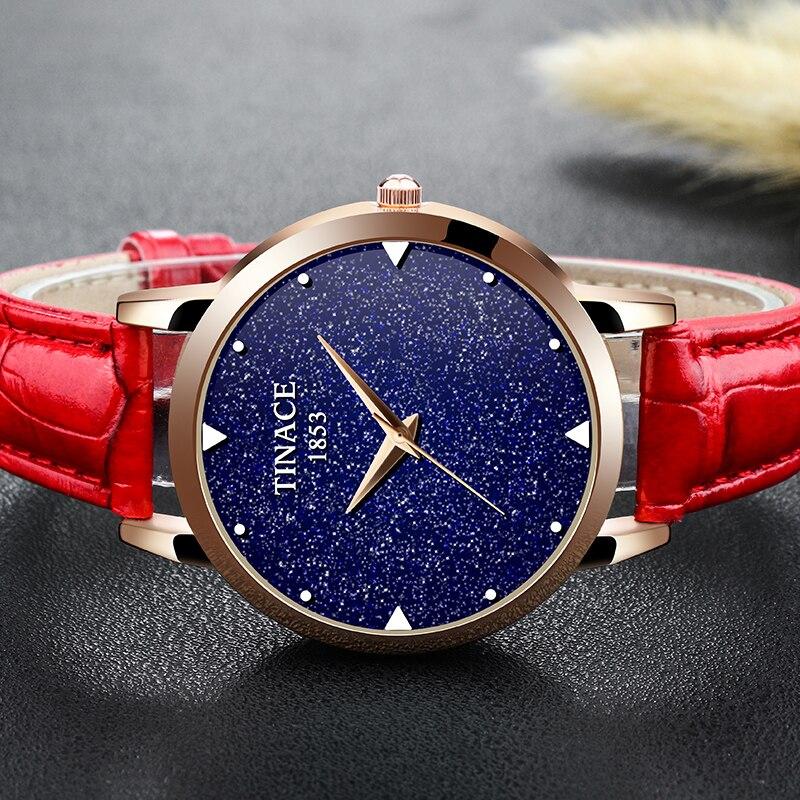Nova marca de relógio de quartzo senhoras relógio de couro à prova d' água relógio de forma mulher romântica relógio Montre Femme Relogio Faminino - 3