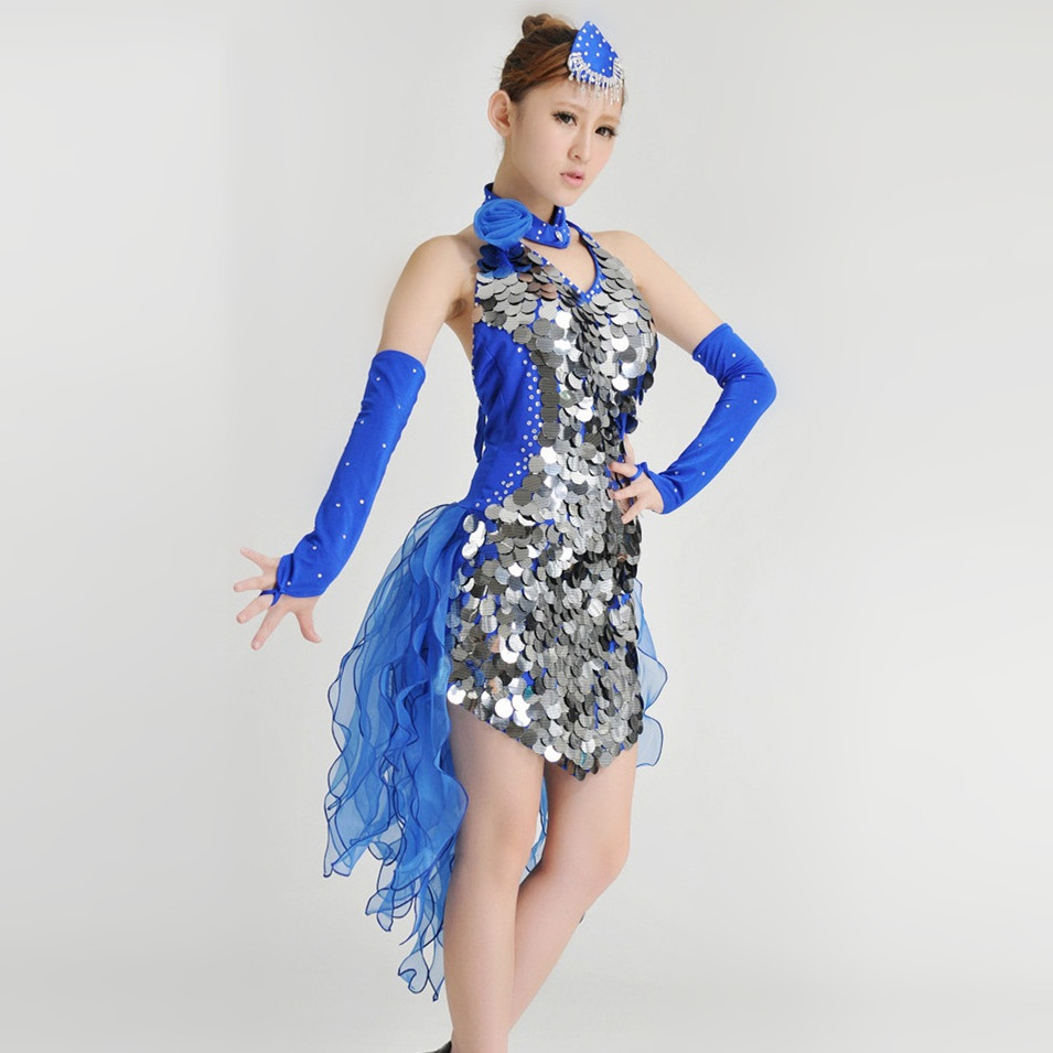 new women fashion Tuxedo Latin dance dress customize white/blue girl tassel sequins Rumba Samba tango dance performance clothing