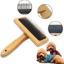 Pet Combs Dog cat Hair Brush Bamboo pets Handle Massage beauty Needle comb with stainless pins Puppy Dogs cats Accessories tools pet hair deshedding dog cat brush comb sticky hair gloves hair fur cleaning for sofa bed clothe pets dogs cats cleaning tools