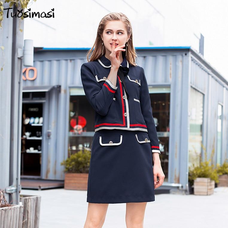 Ol Femmes Veste Automne Hiver Piste Nouveau Arc ul258 Mode Jupe De 2018 Costume wTaqnF1T8