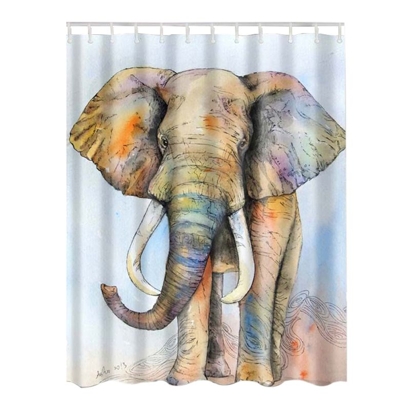 Bathing Waterproof Bathroom Fabric Shower Curtain with Hooks Animal Decor Collection Ocean Seascape Picture Print