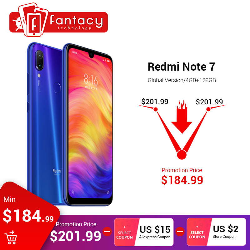 "Versión Global Xiaomi Redmi Note 7 4 GB 128 GB 48MP cámaras Snapdragon 660 Octa Core 6,3 ""FHD teléfono inteligente QC 4,0 4000 mAh OTA"
