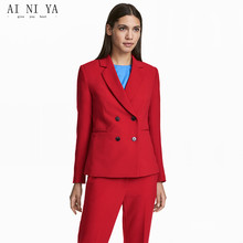 Red Women Suits Set Double Breasted Formal Office Lady Elega