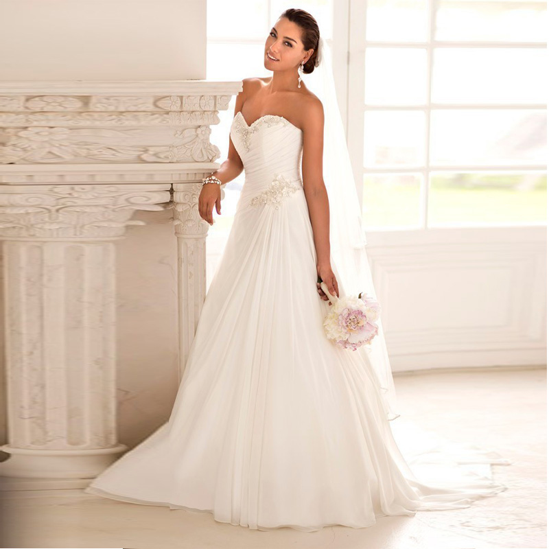 beaded cheap stock chiffon beach china ball gown elegant backless bridal dress plus size 2016 a