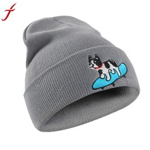 948385936d179 (Ship from US) Women s Winter Hats Knitted Wool Skullies Hat Women Men Dog  print Pattern Knitted Hip Hop Warm Baggy Bonnet Beanie Hat for girl