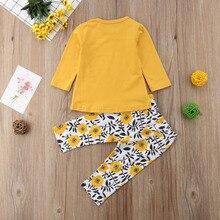 2pcs Girl Cotton Long Sleeve T-shirt Tops + Floral Pants Long Pants 2pcs Clothing Set