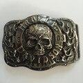 Nuevo Estilo al por menor Plateado hebilla de correa Del Cráneo 9.0*6.8 cm Color Plateado De Metal de 4 cm de Ancho Cinturón hombres Mujeres Jeans accesorios