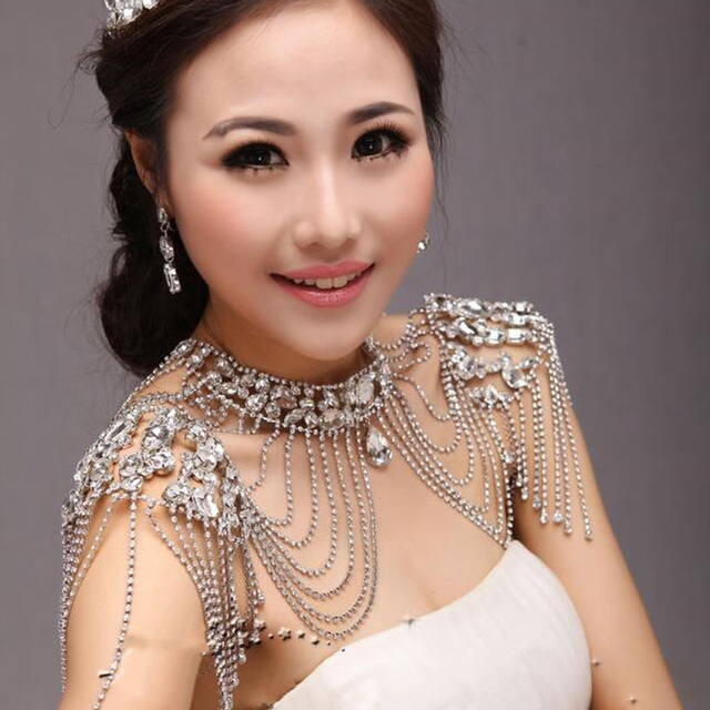 Bridal Shoulder Necklace Earrings Sets Chain Rhinestone Tassles