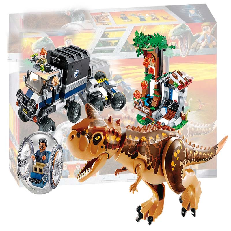 Jurassic World Park Carnotaurus Gyrosphere Escape Building Blocks Kit Bricks Classic Kids Toys Compatible With Legoing 75929