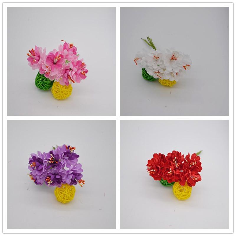 6 unids flor de seda decoracin de la boda ramo de flores de tela de flores
