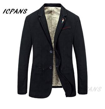 ICPANS Casual Blazers Men Cotton Deinm Business Suits Jackets Army Green Khaki Plus Size M -XXXXL 2019 Autumn Mens Clothing