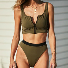Sexy Bikinis 2019 Mujer Army Green Zipper Sports Bikini Push Up Badpak Swimsuit May Swimwear Female for Swimming Suit Trikini(China)