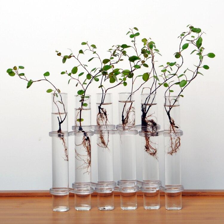 Clear 6 Tubes Shape Flower Glass Vase Bottle For Flower