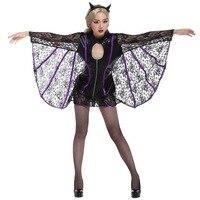 Halloween Adult Women Sexy Bat Devil Demon Costume Lady Black PVC Short Gothic Vampire Dark Angel Bust Open Romper For Girls