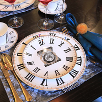Bone China Dinnerware Set Ceramic Steak Dinner Plates With Cup And Sauer Retro Clock Pattern Design With Gold Edge 10inch Dishes