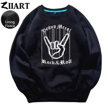 Chain Hand Gesture Heavy Metal Rock N Roll Corna Devil's Horns Sign couple clothes boys man male fleece Sweatshirt цена и фото