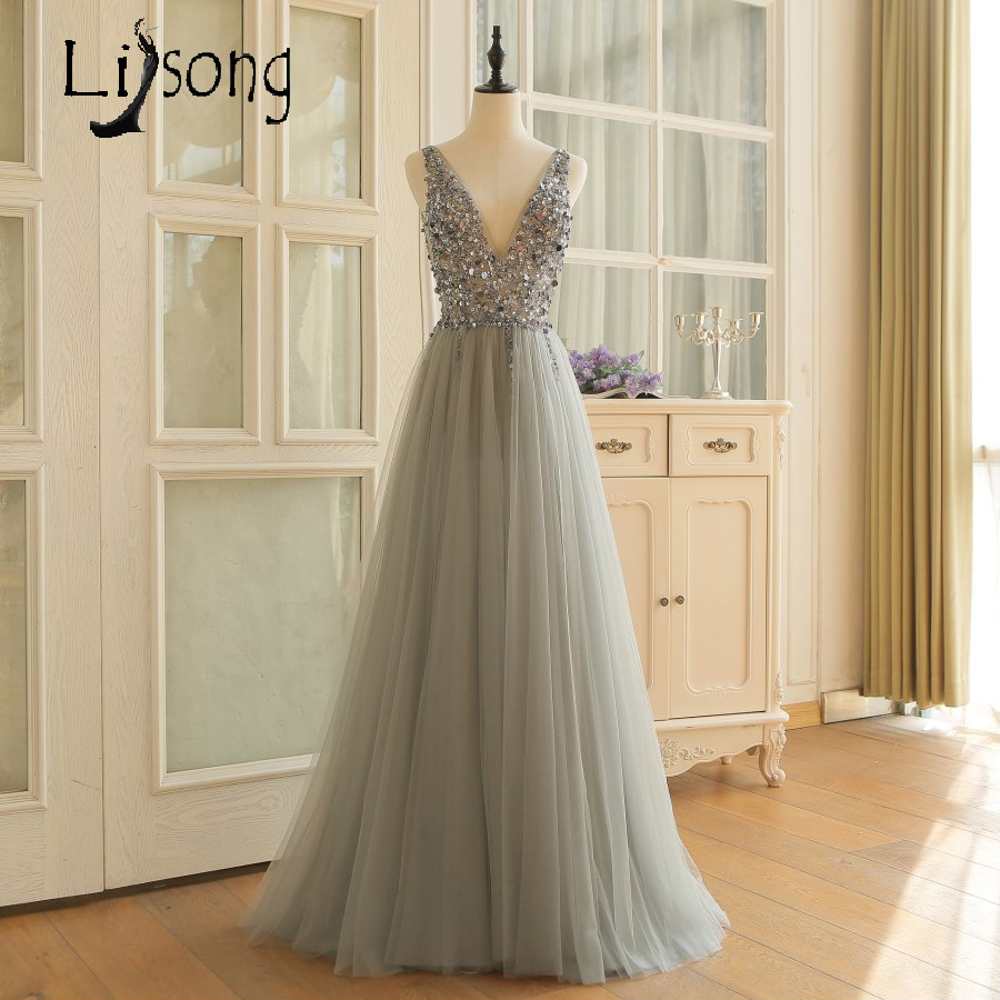 Gorgeous Silver   Prom     Dresses   Beaded Sequins A-line Tulle   Prom     Dress   Gowns Long 2018 Vestido de Festa Real Photo Women Party Gown