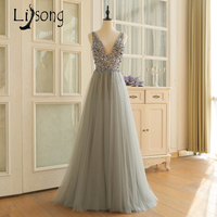 Gorgeous Silver Prom Dresses Beaded Sequins A Line Tulle Prom Dress Gowns Long 2018 Vestido De