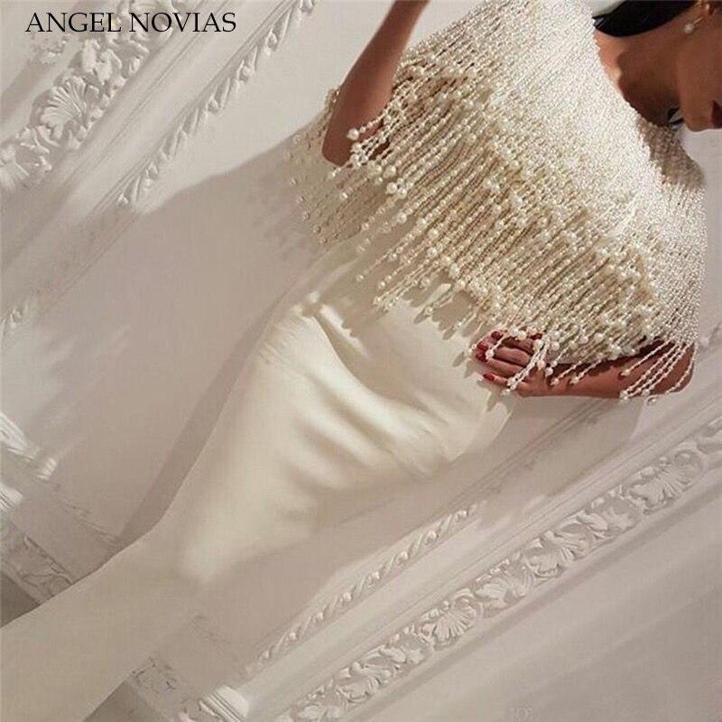 Long White Mermaid Arabic Evening Dress 2018 kaftan Dubai Formal Evening Gowns with Tassel Pearls