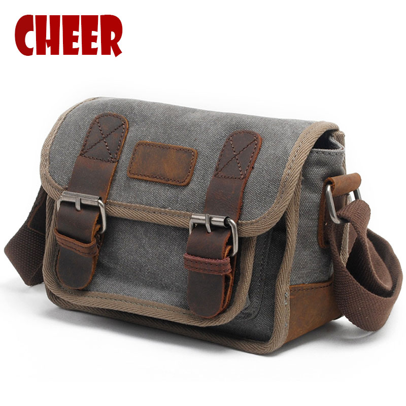 New canvas shoulder bag casual men's shoulder Crossbody Cross vintage bag retro fashion women's small square bags High quality