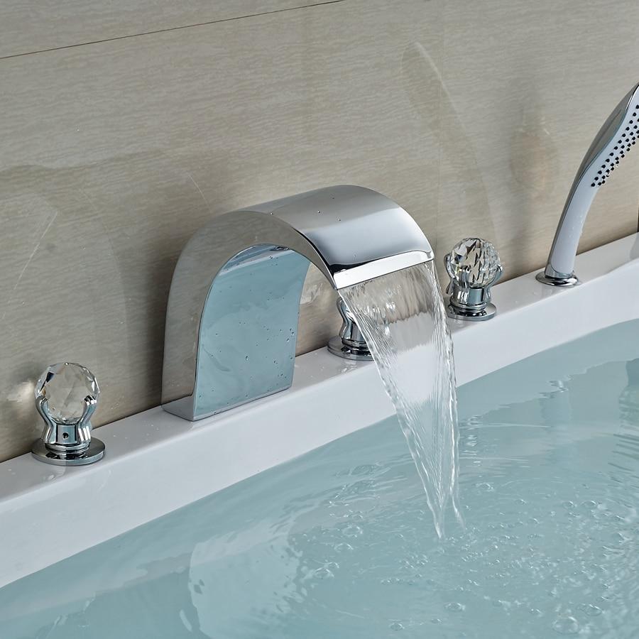 все цены на Wholesale And Retail Promotion Crystal Handles Waterfall Bathroom Tub Faucet W/ Hand Shower Sprayer Mixer Tap онлайн