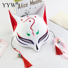 Japanese Anime Hand-Painted Halloween Cosplay Mask Half Face Fox Us Plastic Masquerade Masks Carnival Party Masker Costume