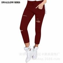 Women High Waist 95% Cotton Elastic Belt Pencil Pants