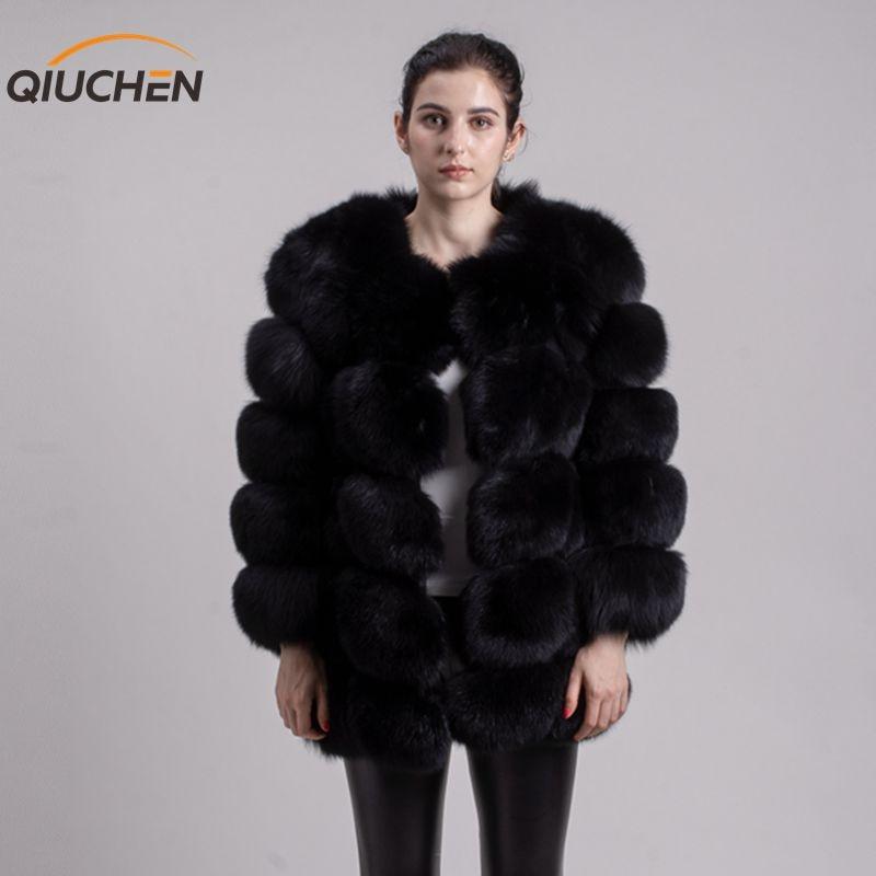 QIUCHEN PJ8078 Большая распродажа Бесплатная доставка все реальные фотографии женские зимние натуральным лисьим пальто с мехом с длинными рукава...