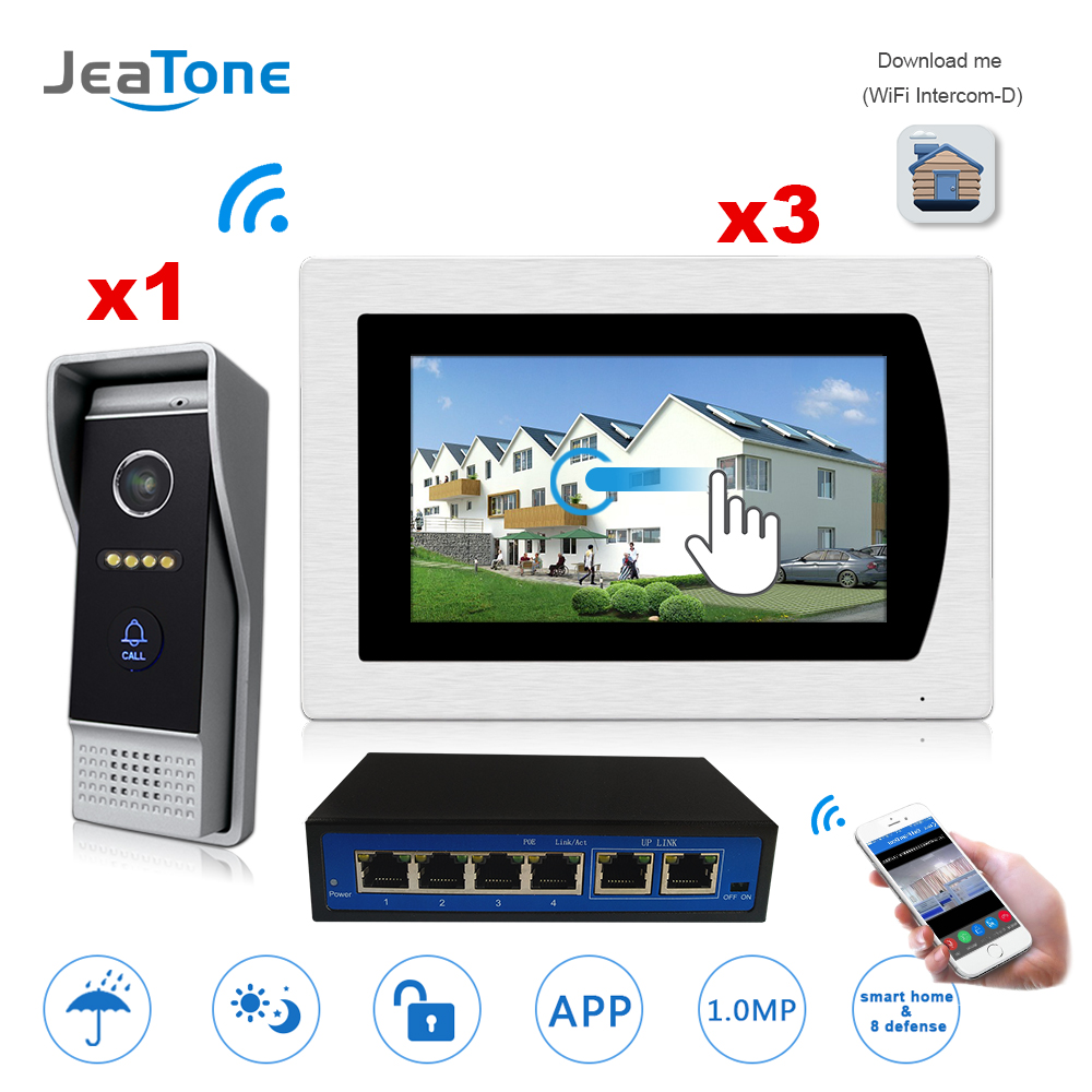 7'' Touch Screen WIFI IP Video Door Phone Video Intercom Villa Building 1-3 Access Control System Motion Detection Android/iOS