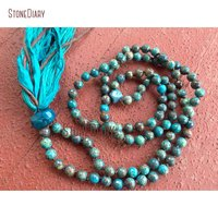 Faceted Striated Jaspers Chrysocolla Mala Beads Protection Throat Chakra Yoga Meditation Silk Sari Tassel Necklace NM11103