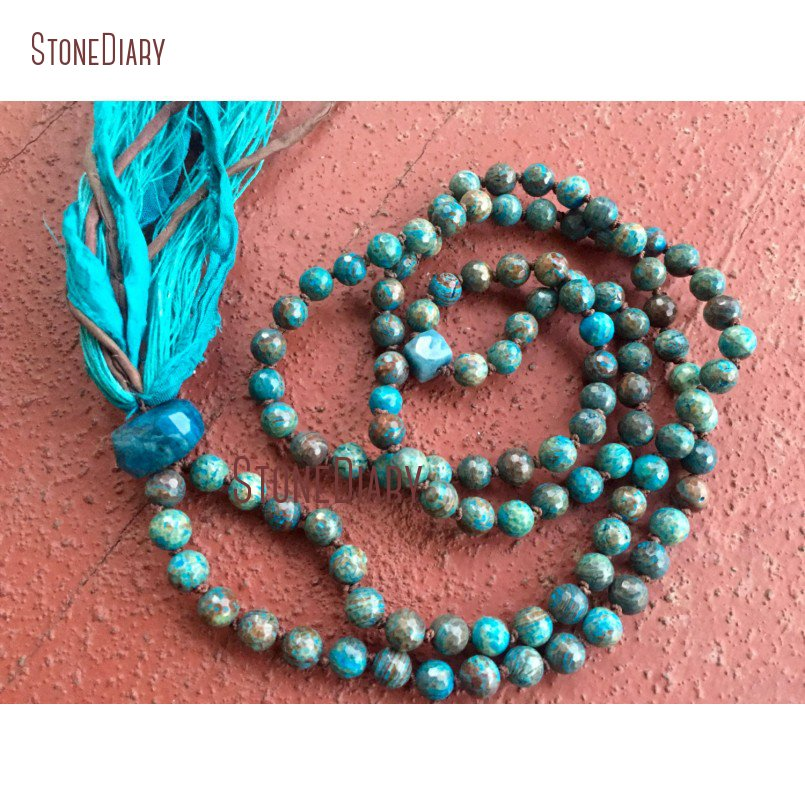 Faceted Striated Jaspers Chrysocolla Mala Beads Protection Throat Chakra Yoga Meditation <font><b>Silk</b></font> <font><b>Sari</b></font> <font><b>Tassel</b></font> Necklace NM11103 image