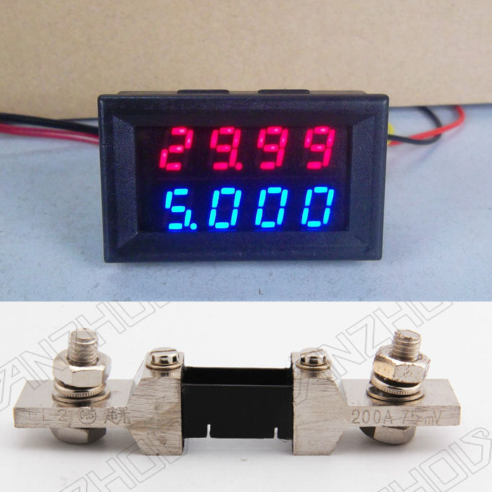 200V 0-200A DC Digital LED Voltmeter Ammeter Dual display Amp Volt Meter + 200A shunt 12v 24v CAR Voltage and current  цены