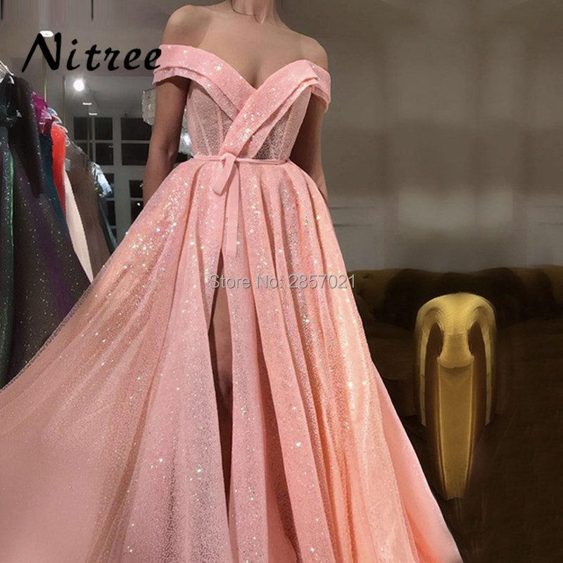 Arabic Muslim Peach Pink Luxury Sparkle Tulle Evening Dresses ...