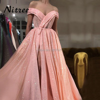 Arabic Muslim Peach Pink Luxury Sparkle Tulle Evening Dresses Sequined Off Shoulder Fashion Evening Gowns 2018 Moroccan Kaftans