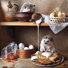 Алмазная картина «ежики» на завтрак мозаика «сделай сам» вышивка