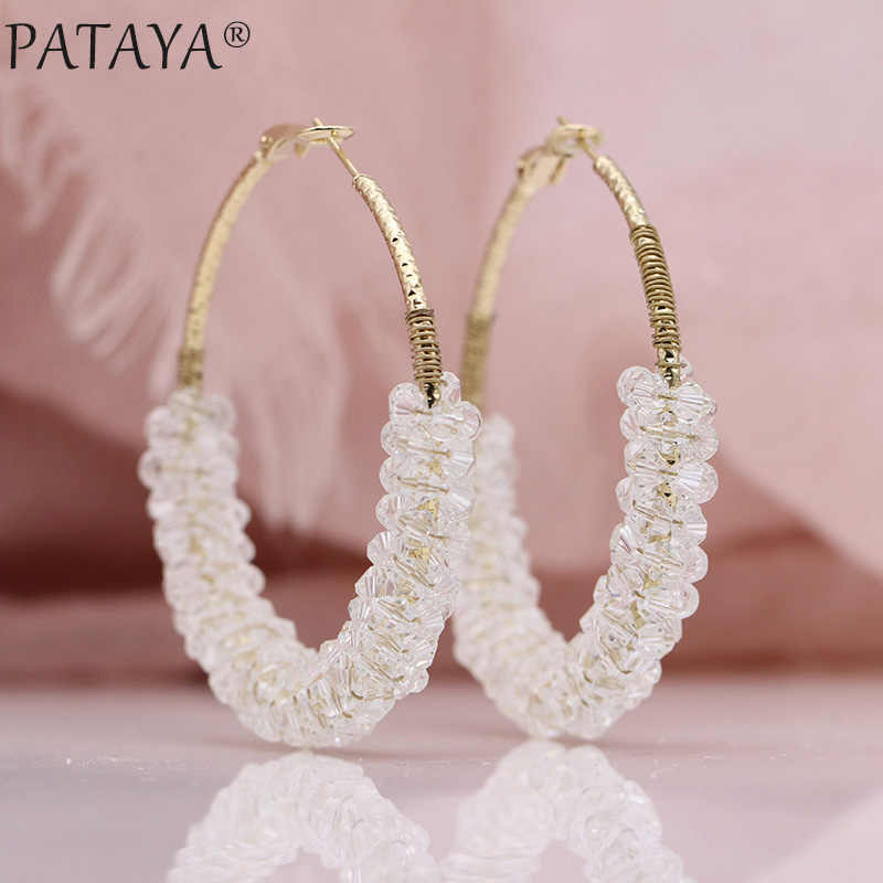 PATAYA New Women Irregular Crystal Big Circle Long Earrings 585 Rose Gold Wedding Party Jewelry White Luxury Fine Dangle Earring